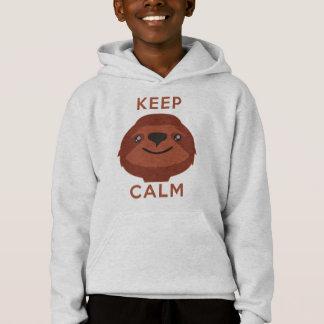 Mantenha a calma e a preguiça sobre camisetas