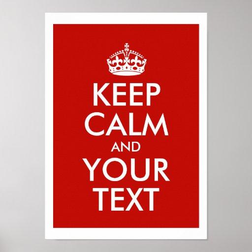 Mantenha a calma e adicione seu próprio texto pers pôster