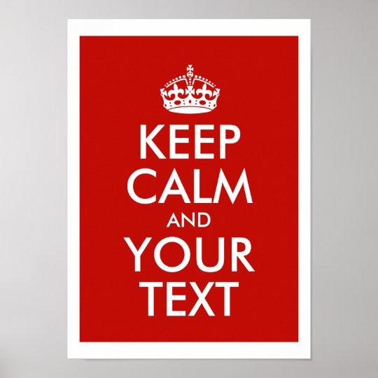 Mantenha a calma e adicione seu próprio texto pers poster