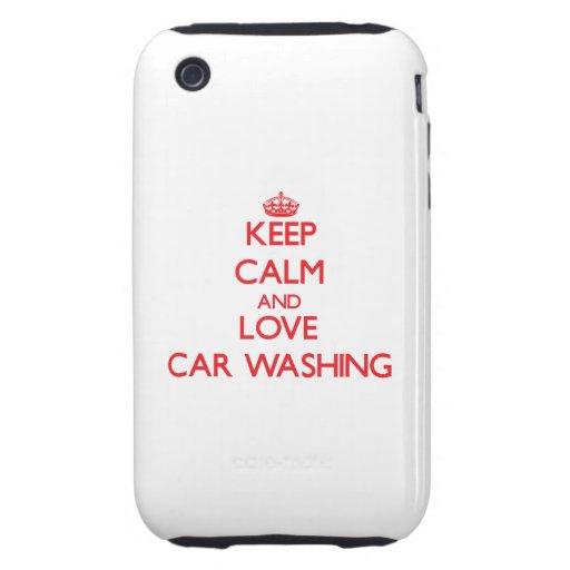 Mantenha a calma e ame a lavagem do carro capas fortes de iPhone 3