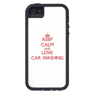 Mantenha a calma e ame a lavagem do carro iPhone 5 capas