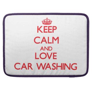 Mantenha a calma e ame a lavagem do carro bolsa para MacBook