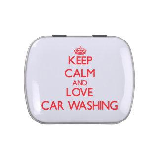 Mantenha a calma e ame a lavagem do carro latinhas para personalizar