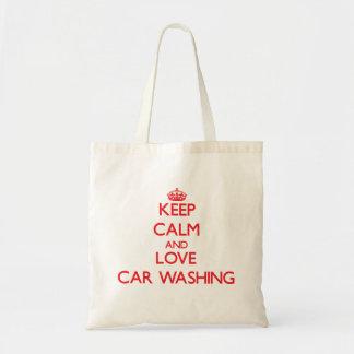 Mantenha a calma e ame a lavagem do carro bolsa de lona