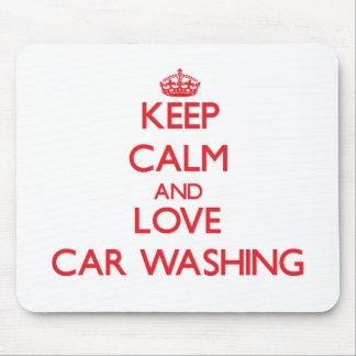 Mantenha a calma e ame a lavagem do carro mouse pad