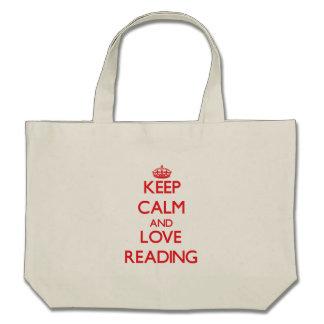 Mantenha a calma e ame-a ler bolsa de lona