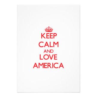 Mantenha a calma e ame América Convite Personalizados