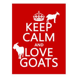 Mantenha a calma e ame cabras (alguma cor do fundo cartao postal