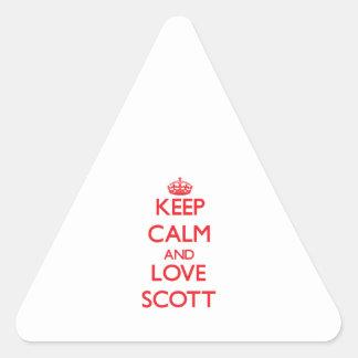 Mantenha a calma e ame Scott Adesivos Em Forma De Triângulo