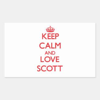 Mantenha a calma e ame Scott Adesivo Retangular