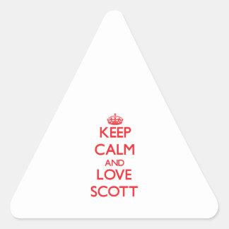 Mantenha a calma e ame Scott Adesivo Triângulo
