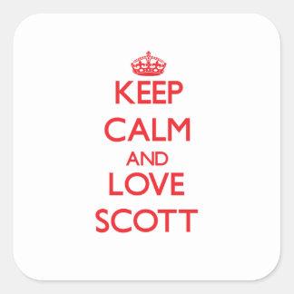Mantenha a calma e ame Scott Adesivos Quadrados