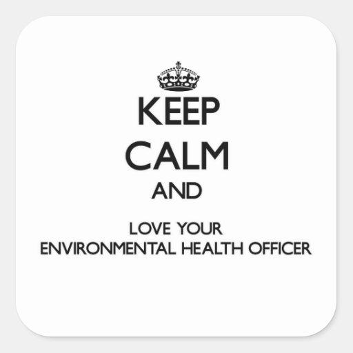 Mantenha a calma e ame sua saúde ambiental Offic Adesivo Quadrado