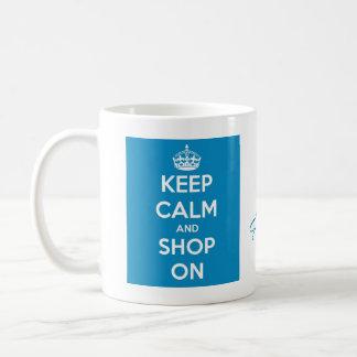 Mantenha a calma e comprar o azul brilhante caneca de café
