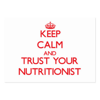 Mantenha a calma e confie seu nutricionista cartão de visita grande