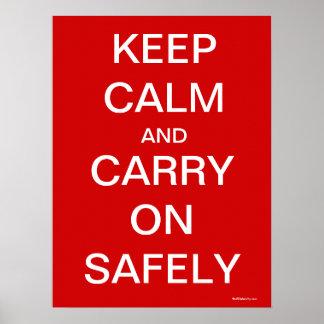 Mantenha a calma e continue com segurança - saúde  pôster
