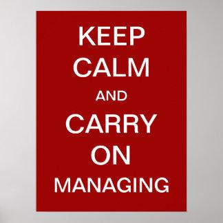 Mantenha a calma e continue controlar o provérbio  poster