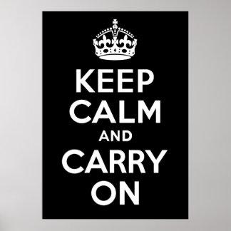 Mantenha a calma e continue o costume preto e pôster