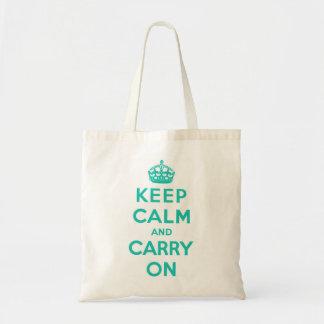 Mantenha a calma e continue o saco ciano bolsa para compras