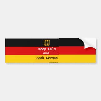 Mantenha a calma e cozinhe o alemão Bumpersticker Adesivo Para Carro