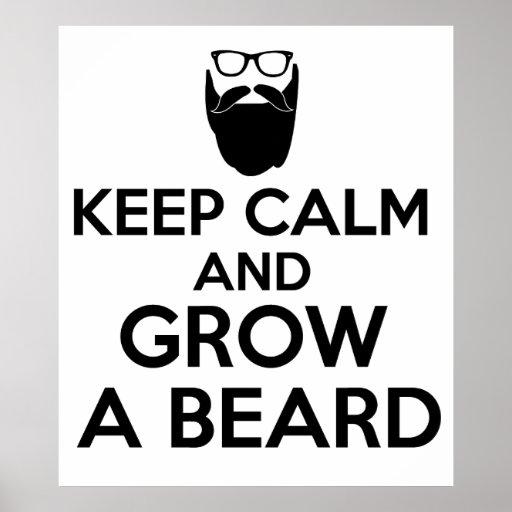 Mantenha a calma e cresça uma barba pôster