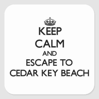 Mantenha a calma e escape à praia Florida da chave Adesivo Em Forma Quadrada
