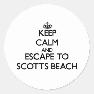 Mantenha a calma e escape à praia New York de Adesivo Em Formato Redondo