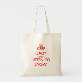 Mantenha a calma e escute a neve sacola tote budget