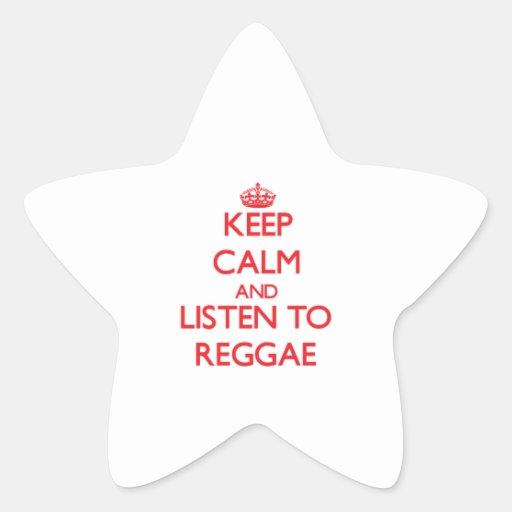 Mantenha a calma e escute a REGGAE Adesivos Em Forma De Estrelas