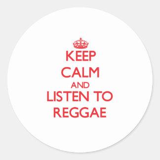 Mantenha a calma e escute a REGGAE Adesivos Em Formato Redondos