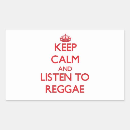 Mantenha a calma e escute a REGGAE Adesivos Em Formato Retangulares