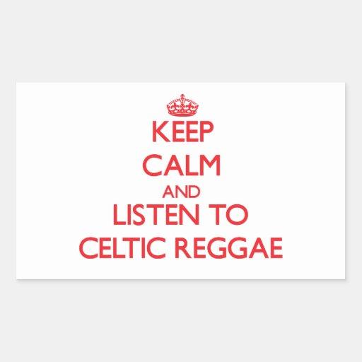 Mantenha a calma e escute a REGGAE CELTA Adesivo Retangular