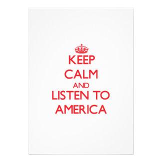 Mantenha a calma e escute América Convites Personalizado