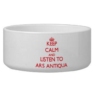 Mantenha a calma e escute o ARS ANTIQUA Tijela Para Água Para Cachorros