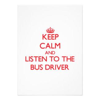Mantenha a calma e escute o condutor de autocarro convite personalizado