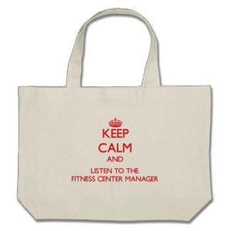 Mantenha a calma e escute o gerente do fitness cen bolsa