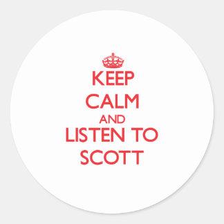 Mantenha a calma e escute Scott Adesivos Em Formato Redondos