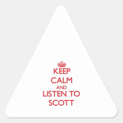 Mantenha a calma e escute Scott Adesivos Em Forma De Triângulo