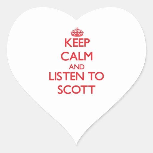 Mantenha a calma e escute Scott Adesivo Em Forma De Coração