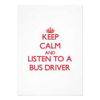 Mantenha a calma e escute um condutor de autocarro convite personalizados