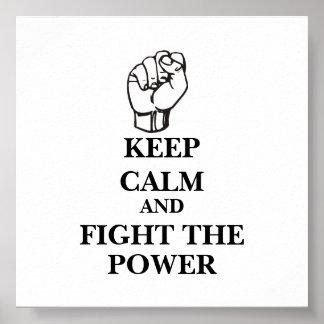 Mantenha a calma e lute o poder poster