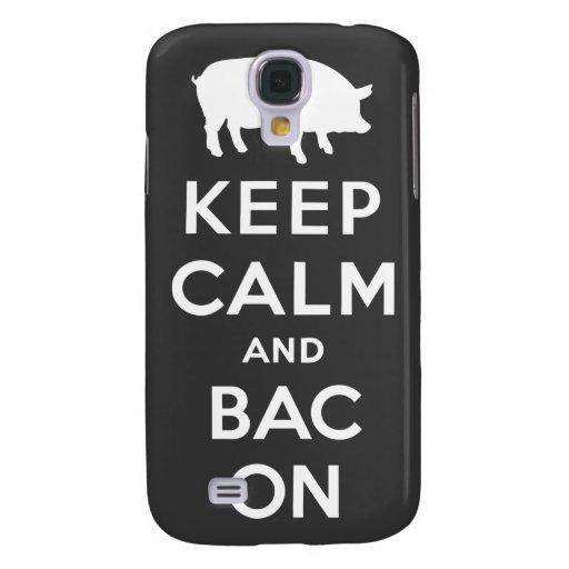 Mantenha a calma e o bacon/branco