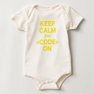 Mantenha a calma e o código sobre body para bebê
