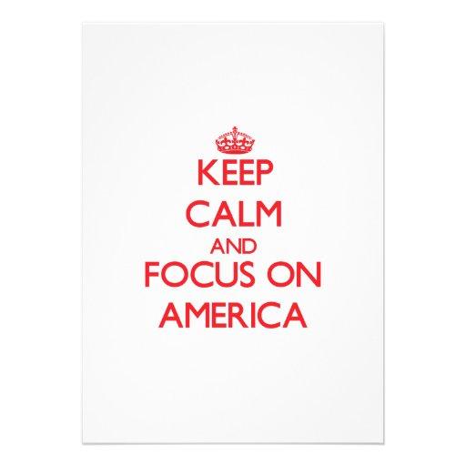 Mantenha a calma e o foco em América Convite Personalizado