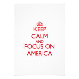 Mantenha a calma e o foco em AMÉRICA Convites Personalizados