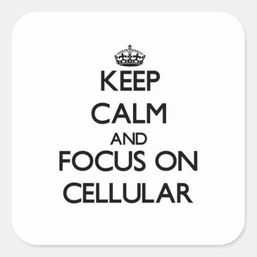 Mantenha a calma e o foco em celular adesivo em forma quadrada