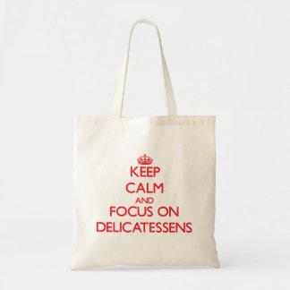 Mantenha a calma e o foco em guloseimas bolsa para compras