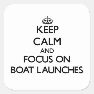 Mantenha a calma e o foco em lançamentos do barco adesivo quadrado