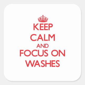 Mantenha a calma e o foco em lavagens adesivo