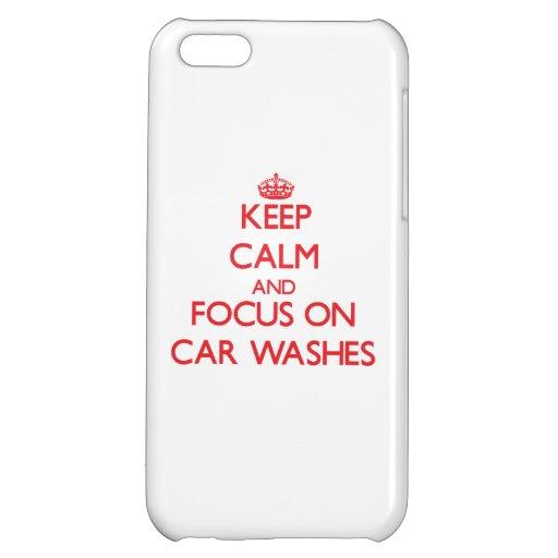 Mantenha a calma e o foco em lavagens de carros capa para iPhone 5C